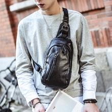斜挎包单肩包运动背包潮包 腰包皮质小包包男士 新款 休闲胸包男韩版