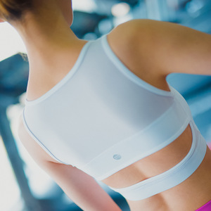 美女照我去运动 美背拼纱高强度防震健身运动文胸 速干跑步内衣