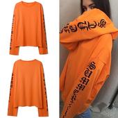 欧美西海岸高街网红同款橙色加长袖子t恤纯棉嘻哈街舞男女情侣装