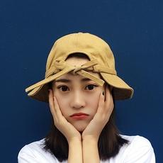 韩版纯色蝴蝶结渔夫帽街头休闲百搭盆帽学生潮人折叠帽子女秋冬季