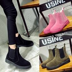 2016冬季新款英伦风切尔西靴女短筒靴平底加绒加棉保暖女靴子女鞋