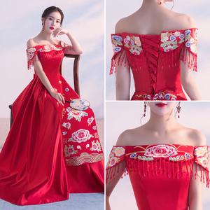 2017新款敬酒服新娘秀禾服中式礼服红色回门服结婚旗袍婚纱一字肩中式婚纱