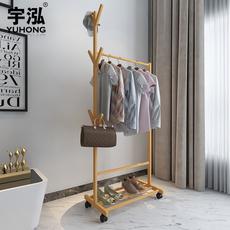 宇泓衣帽架楠竹卧室落地衣架立式衣服架实木挂衣架可移动简约现代