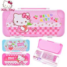 凯蒂猫儿童文具盒KT双层多功能男女孩小学生可爱创意塑料笔盒套装