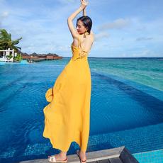 2017夏季新品海边度假露背沙滩裙女神性感雪纺长裙修身显瘦连衣裙