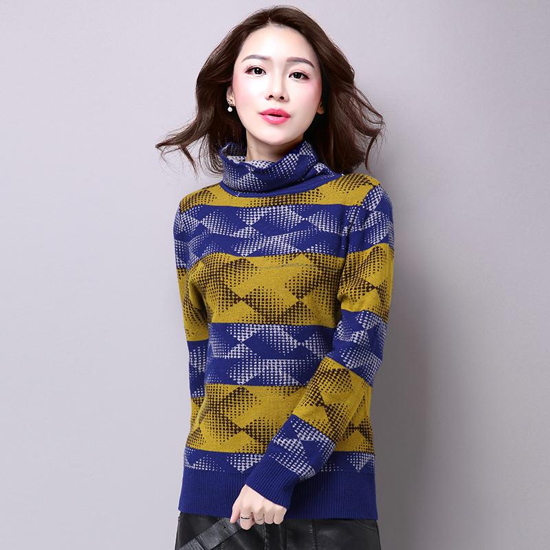 新款高领毛衣女短款针织衫韩版宽松女套头打底衫加厚