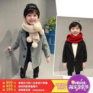 男童大衣中长款加绒冬季儿童中大童加厚毛呢子大衣外套韩版潮童装女童毛呢大衣