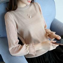 女短款 韩版 春秋女装 宽松针织衫 打底衫 2017新款 宽松毛衣女雪纺袖
