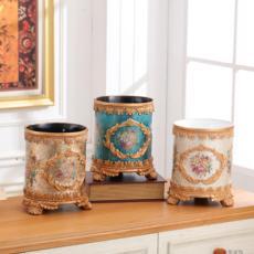 欧式树脂红酒桶装饰品摆件包邮圆形创意家用垃圾桶室内垃圾桶分类