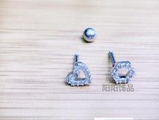 熙帝S925银耳钉女韩国版可爱镶钻耳饰正品防过敏耳环 情人节礼物