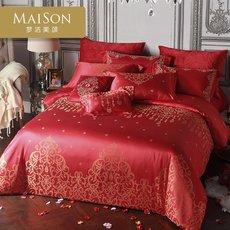 梦洁家纺珠帘璧合婚庆纯棉提花六件套全棉大红色欧式婚礼套件正品