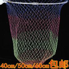 不锈钢折叠抄网头彩色直径40/50/60网深80cm捞鱼网涂胶防挂绞丝网
