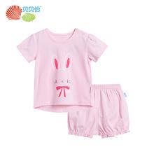 贝贝怡童装女童卡通短袖套装夏季新品婴儿衣服宝宝两件套172T087