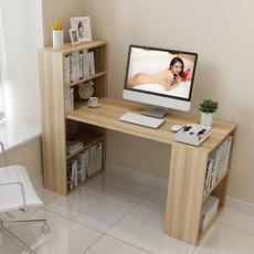 家用台式电脑桌带书架简易转角书桌书柜组合简约现代学生学习桌子