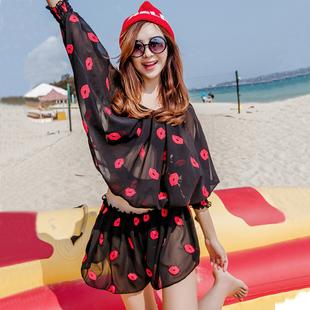 韩国比基尼泳衣女三四件套小胸聚拢钢托BIKINI显瘦遮肚游泳衣女