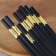 快子筷子套装家用合金筷日式酒店筷骨瓷家庭装10双便携不锈钢餐具