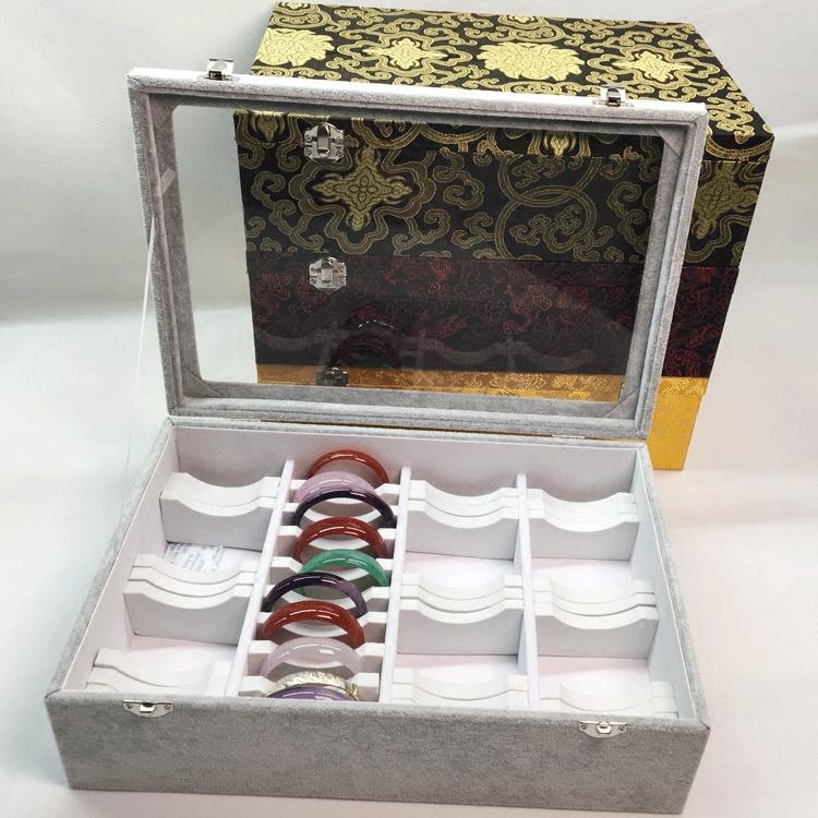 40位手镯箱整理盒现货木质首饰盒手镯收纳展示盒冰花绒带盖珠宝箱首饰盒