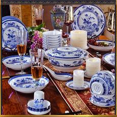 【明清瓷器鸳鸯戏水】结婚餐具景德镇骨瓷仿古青花瓷中式碗碟套装