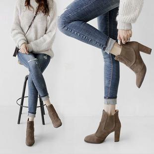 2016新款加绒粗跟短靴女春秋冬季女鞋裸靴高跟鞋女靴子马丁靴单靴