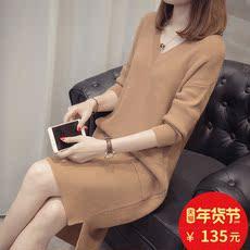 中长款毛衣女 秋冬新款女装宽松韩版网红V领加厚针织打底衫连衣裙