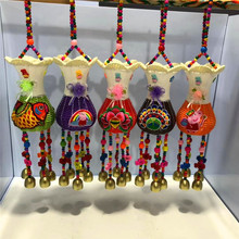 民族风手工编制创意家居装 饰品田园花瓶铜风铃及配件餐厅客栈