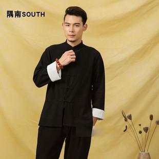 中国风盘扣衬衫棉麻复古衬衣长袖休闲亚麻中式对襟衣汉唐装男上衣