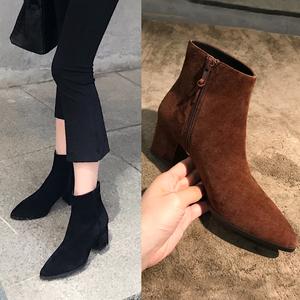 女鞋冬季2017新款鞋子女冬加绒尖头切尔西短靴女粗跟高跟马丁靴女女鞋