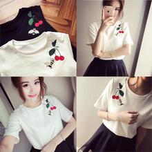 夏装韩版新款原宿风bf纯色圆领刺绣短袖体恤学生半袖T恤女