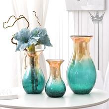 饰品客厅餐桌植物花器 欧式透明玻璃花瓶仿真花干花插花家居摆件装