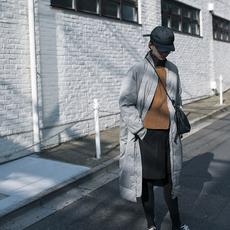 步履不停长款棒球羽绒服 冬季新款日系休闲外套 14102
