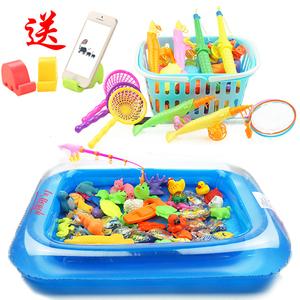 包邮广场儿童益智宝宝小猫钓鱼玩具戏水磁性钓鱼玩具池套装儿童玩具