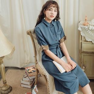 安妮陈夏季条纹衬衫文艺连衣裙女2018新款收腰显瘦气质复古中长款