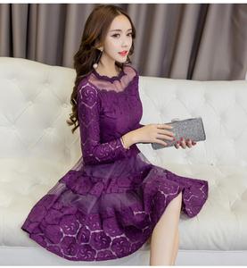 2017年秋季女装蕾丝拼接潮流纯色气质清纯甜美长袖修身显瘦连衣裙