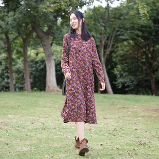 棉麻文艺复古碎花衬衫连衣裙秋季过膝气质衬衣裙长款显瘦外搭开衫