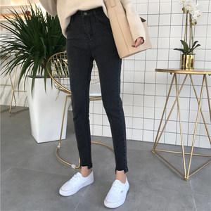 <span class=H>夏季</span>2018新款韩版九分牛仔裤女不规则高腰显瘦须边弹力小脚铅笔裤