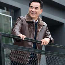 冬季爸爸装中老年40-50岁皮衣外套中年男士秋冬装加绒加厚皮夹克
