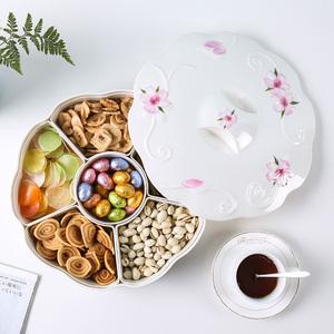 小惊 欧式加厚密胺春节分格零食干果盘 北欧风现代客厅家用糖果盒