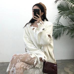 春装女装韩版宽松镂空破洞V领套头毛衣外套学生上衣潮+蕾丝打底裙毛衣