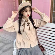 春装女装韩版小清新灯芯绒蝴蝶结系带长袖衬衫上衣学生打底衫衬衣