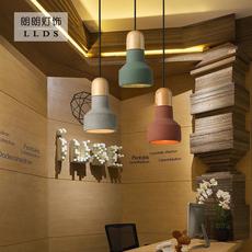 后现代吧台水泥小吊灯 单头艺术餐厅灯 个性创意床头水泥实木吊灯