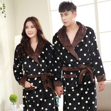 冬季情侣珊瑚绒波点睡袍女士长袖加厚法兰绒睡衣男士浴袍长款浴衣