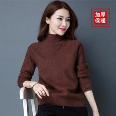 2017冬季新款半高领羊绒衫女短款毛衣套头韩版加厚保暖羊毛打底衫