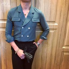 韩国东大门男装ulzzang衬衫男韩版时尚欧美发型师衬衣英伦上衣潮
