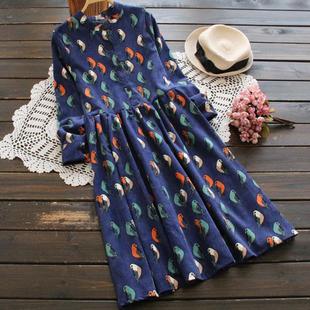 森女系民族风碎花裙秋冬季女装灯芯绒印花长袖衬衫裙中长款连衣裙
