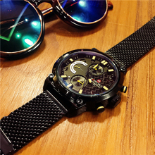 Europe and America fashion trend all black watch fine steel belt large dial meter male table multifunctional waterproof watch genuine quartz watch