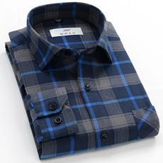 秋季新款格子衬衫男长袖中年商务休闲爸爸装中老年纯棉免烫衬衣厚