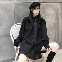 秋季韩版ins原宿风复古暗黑系黑色带领带衬衣百搭宽松长袖衬衫女