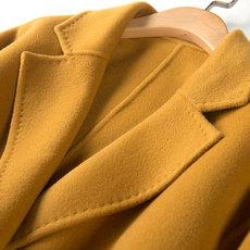 2016冬装欧洲站欧美手工双面呢羊毛呢大衣中长款茧形毛呢外套女