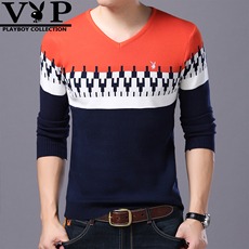 花花公子针织衫男毛衣V领长袖T恤秋冬季韩版新款青年薄打底羊毛衫