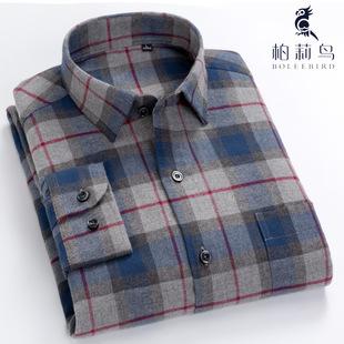 柏莉鸟秋冬男士纯棉格子衬衫长袖寸加绒加厚保暖休闲全棉中年衬衣